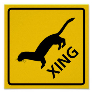 Weasel / Ferret Crossing Highway Sign Poster