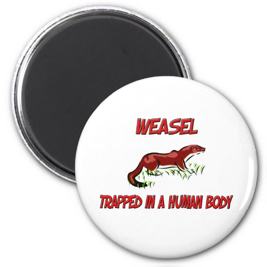 Weasel trapped in a human body 6 cm round magnet