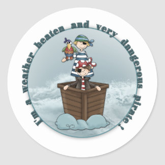 Weather beaten and dangerous pirate classic round sticker