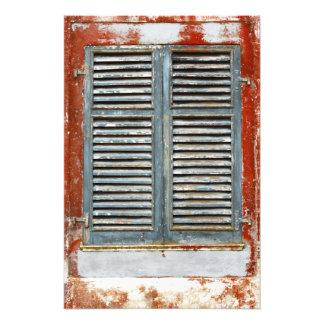 Weather-beaten window art photo
