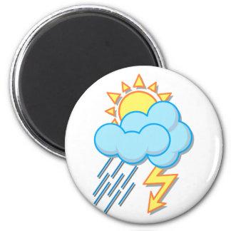 Weather sun rain of lightnings more weather sun ra 6 cm round magnet