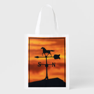 Weather Vane at Sunset Reusable Grocery Bag