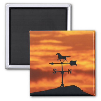 Weather Vane at Sunset Square Magnet
