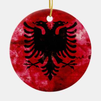 Weathered Albania Flag Christmas Ornament