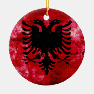 Weathered Albania Flag Round Ceramic Decoration