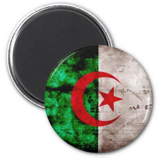 Weathered Algeria Flag 6 Cm Round Magnet