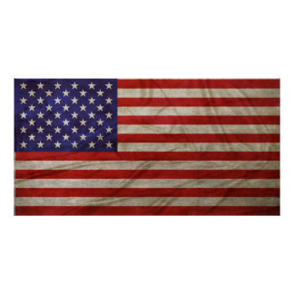 Weathered American Flag Poster