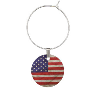 Weathered American Flag Wine Charm