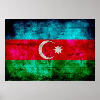 Weathered Azerbaijan Flag Print