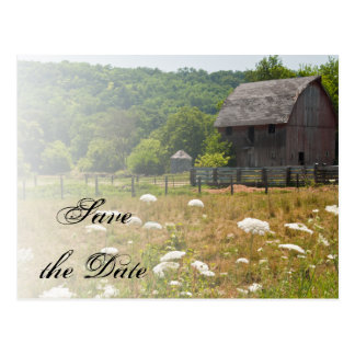 Weathered Barn Country Wedding Save the Date Post Card