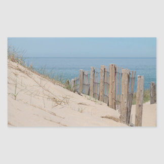 Weathered beach fence and dunes rectangular sticker