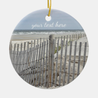 Weathered beach fence and ocean beach christmas ornament