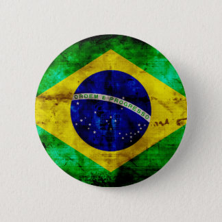 Weathered Brazil Flag 6 Cm Round Badge