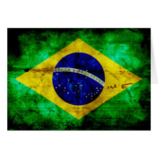 Weathered Brazil Flag Greeting Cards