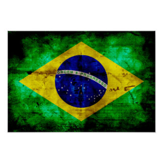 Weathered Brazil Flag Poster
