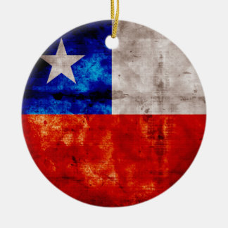 Weathered Chile Flag Christmas Ornament