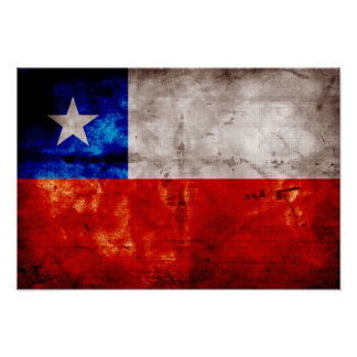 Weathered Chile Flag Poster