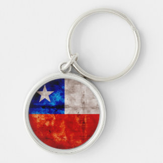 Weathered Chile Flag Silver-Colored Round Key Ring