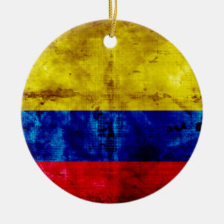 Weathered Colombia Flag Round Ceramic Decoration