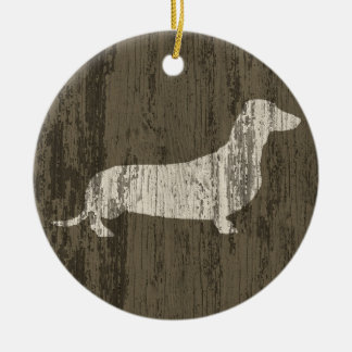 Weathered Dachshund Christmas Ornament