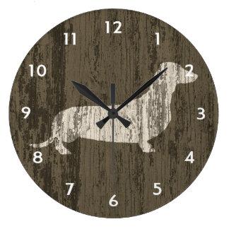 Weathered Dachshund Large Clock