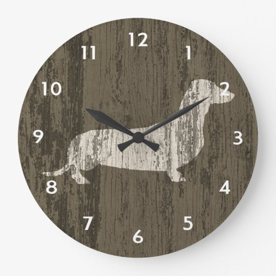 Weathered Dachshund Large Clock