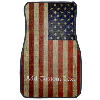 Weathered, distressed American Flag Car Mat