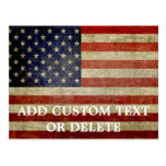 Weathered, distressed American Flag Postcard