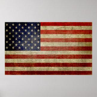 Weathered distressed American Flag Print