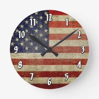 Weathered, distressed American Flag Wallclocks