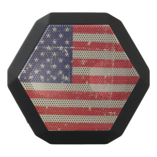 Weathered, Distressed American USA Flag Black Bluetooth Speaker