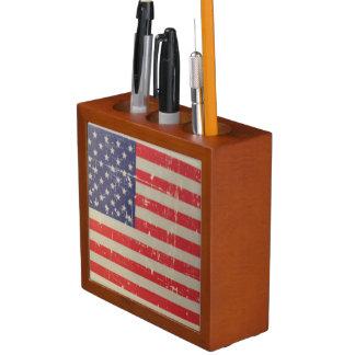 Weathered, Distressed American USA Flag Desk Organiser