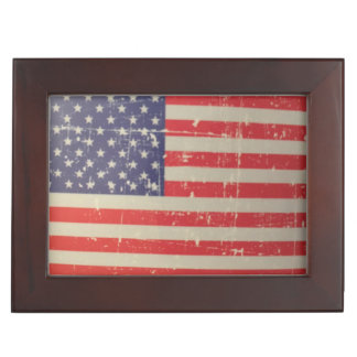 Weathered, Distressed American USA Flag Keepsake Box