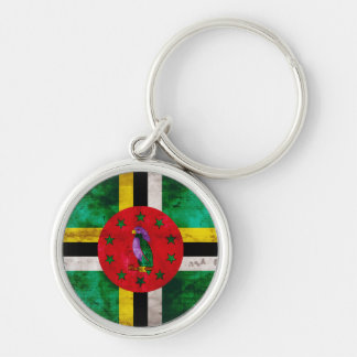 Weathered Dominica Flag Silver-Colored Round Key Ring
