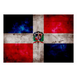 Weathered Dominican Republic Flag Posters