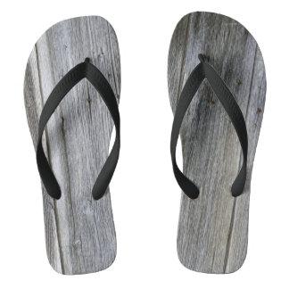 Weathered Door Planks Flip Flops