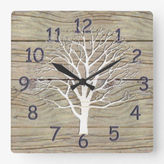Weathered Driftwood with Tree Artwork Wallclocks