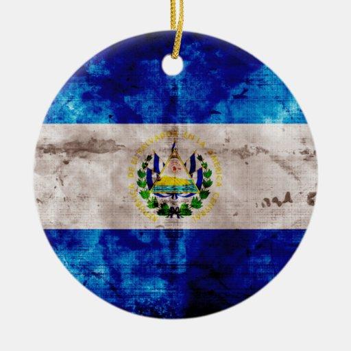 Weathered El Salvador Flag Round Ceramic Decoration