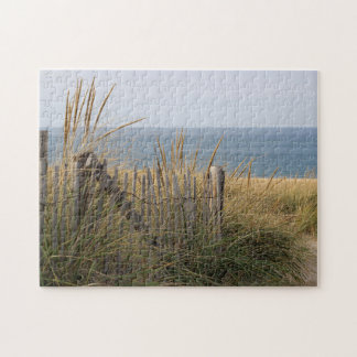 Weathered fence and dunes at the beach jigsaw puzzle