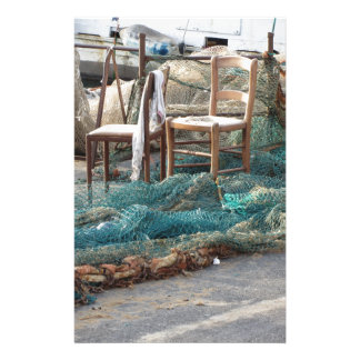 Weathered fishing nets on a harbor pier personalized stationery