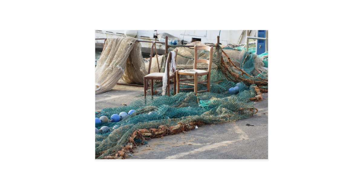 Weathered fishing nets on a harbour pier postcard zazzle for Pier fishing net