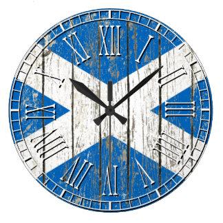 Weathered Flag of Scotland Large Clock