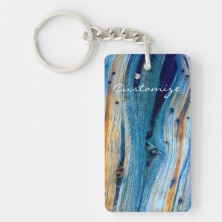 weathered juniper wood board Double-Sided rectangular acrylic key ring