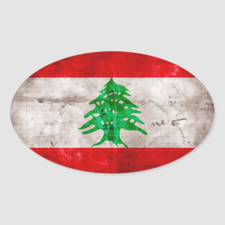 Weathered Lebanon Flag Oval Sticker