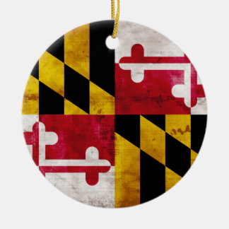 Weathered Maryland Flag Round Ceramic Decoration