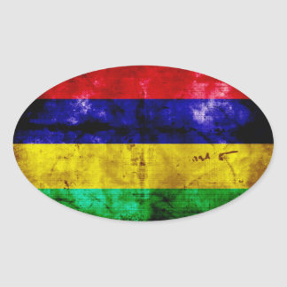 Weathered Mauritius Flag Oval Sticker