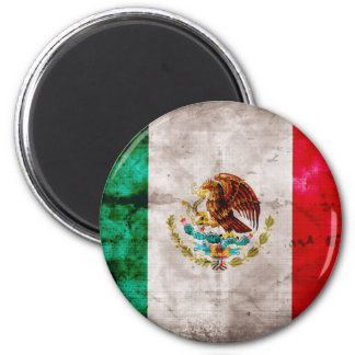 Weathered Mexican Flag 6 Cm Round Magnet