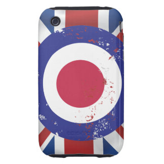 Weathered Mod Target on silk effect Union Jack Tough iPhone 3 Cases
