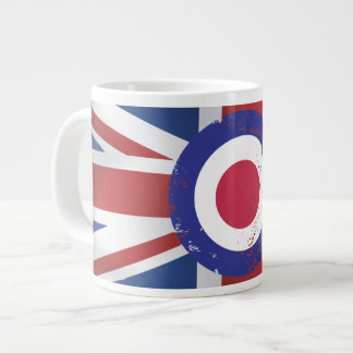 Weathered Mod Target on silk effect Union Jack Giant Coffee Mug