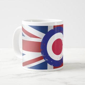 Weathered Mod Target on silk effect Union Jack Extra Large Mugs